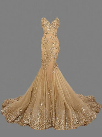 Chic Sweetheart Gold Prom Dress Trumpet/Mermaid Tulle Saprkly Prom Dresses Long Evening Dress AMY1052