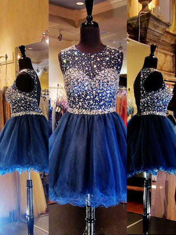 A-line Scoop Sleeveless Short Prom Dress With Beading Royal Blue Homecoming Dress AMY1053