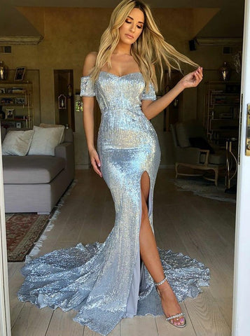 Trumpet/Mermaid Off-the-shoulder Floor-length Prom Dress Blue Prom Dresses Long Evening Dress AMY1054