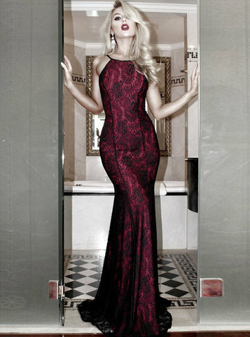 Mermaid Prom Dresses Spaghetti Straps Floor-length Prom Dress Burgundy Lace Long Evening Dress AMY1055