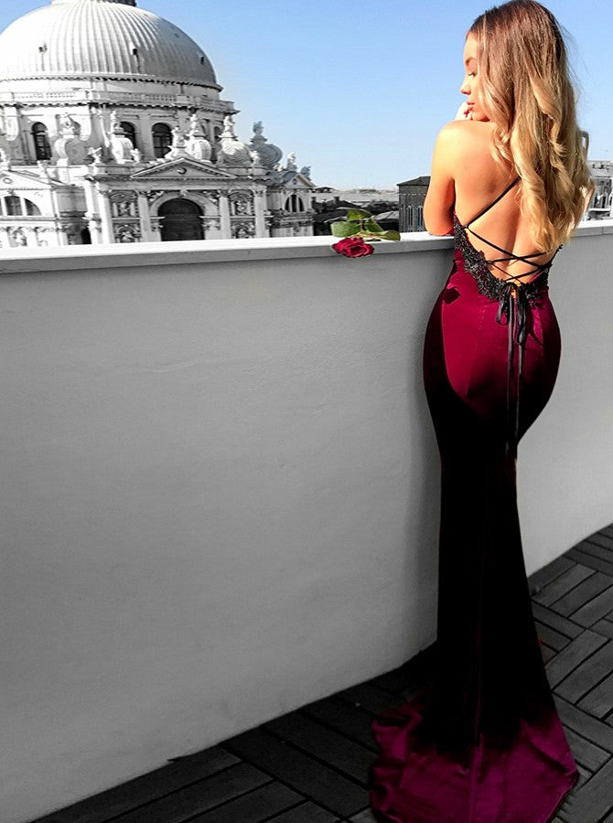 Mermaid Prom Dresses Spaghetti Straps Floor-length Prom Dress Burgundy Lace Long Evening Dress AMY1056