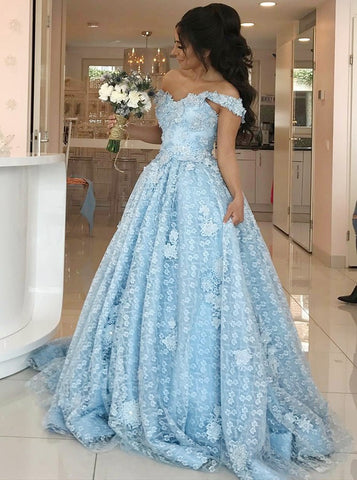 A-line Off-the-shoulder Prom Dresses Floor length Light Sky Blue Prom Dress Long Evening Dress AMY1058