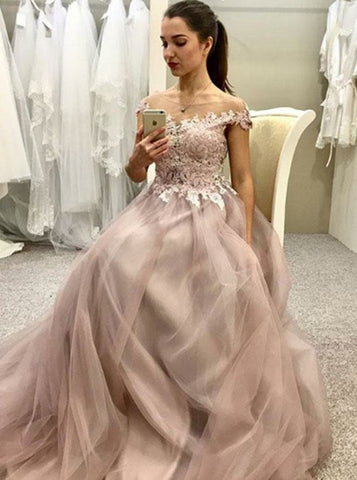 A-line Off-the-shoulder Prom Dresses Floor length Pink Lace Prom Dress Long Evening Dress AMY1059