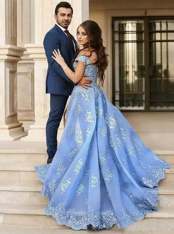 Light Sky Blue Prom Dress A-line Off-the-shoulder Tulle Lace Prom Dresses Long Evening Dress AMY1060