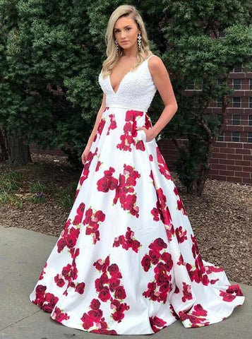 A-line Lace Spaghetti Straps Prom Dresses Floor length White Floral Prom Dress Long Evening Dress AMY1063
