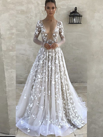 A-line Prom Dresses White Elegant Long Sleeve Prom Dress Evening Dresses AMY1067
