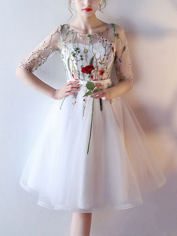 2018 New Arrival Scoop Short Prom Dress With Floral Short Sleeve Homecoming Dress Prom Dresses AMY1068