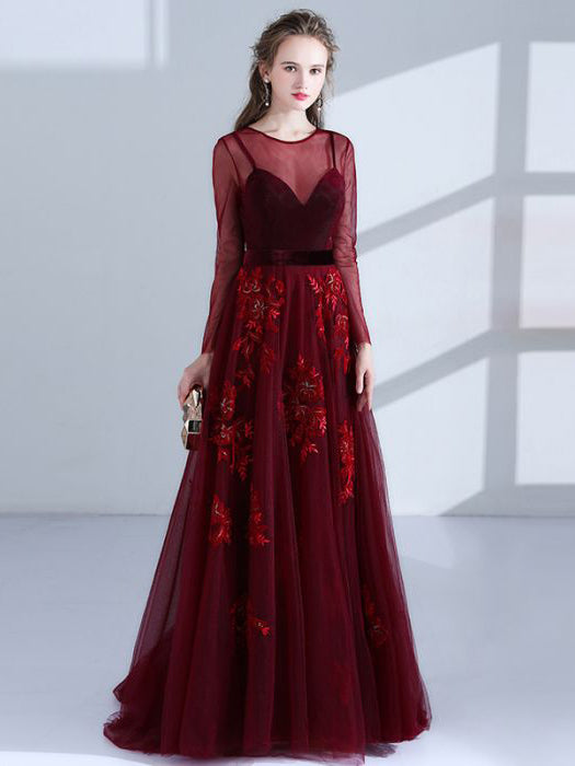 Chic Burgundy Prom Dresses Long A line Scoop Applique Beautiful Prom Dress AMY106