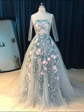 Ball Gowns Long Sleeve Prom Dress Sweep/Brush Train Floral Prom Dresses Long Evening Dress AMY1070