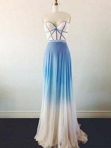 Ombre Prom Dress A-line Sweetheart Chiffon Cheap Prom Dresses Long Evening Dress AMY1074
