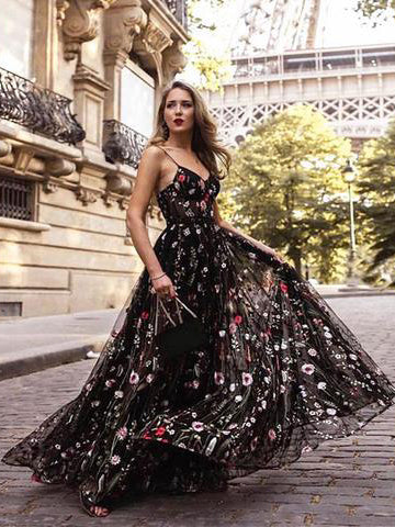 Boho Prom Dress A-line Spaghetti Straps Tulle Applique Cheap Prom Dresses Long Evening Dress AMY1077