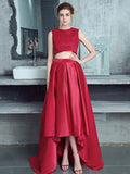 Chic Two Pieces Prom Dresses A line Asymmetrical Red Long Modest Cheap Prom Dress AMY107