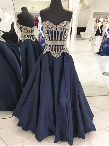 Dark Navy Prom Dress A-line Sweetheart Prom Dresses With Beads Long Evening Dress AMY1081