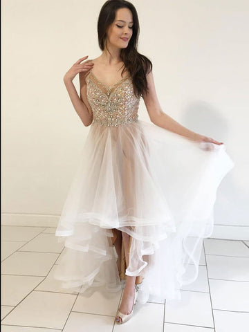 A-line Prom Dress Asymmetrical White Spaghetti Straps Beading Cheap Prom Dresses Long Evening Dress AMY1082