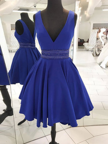 A-line V neck Short Prom Dress Cheap Royal Blue Homecoming Dress AMY1083