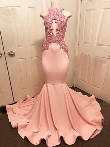 Trumpet/Mermaid Prom Dress High Neck Pink Satin Applique Blush Prom Dresses Long Evening Dress AMY1084