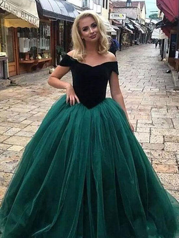 Dark Green Ball Gowns Prom Dress Off-the-shoulder Simple Cheap Prom Dresses Long Evening Dress AMY1085