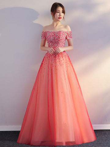 Chic Prom Dresses Long A-line Off The Shoulder Beading Prom Dress Blush Evening Dress AMY108