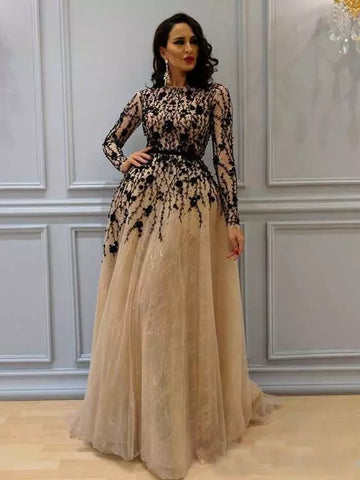 A-line Bateau Floor-length Prom Dress Black Long Sleeve Tulle Prom Dresses Long Evening Dress AMY1097