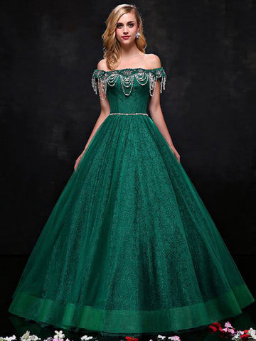 Chic Prom Dresses Long A-line Tulle Off the Shoulder Dark Green Cheap Prom Dress AMY109
