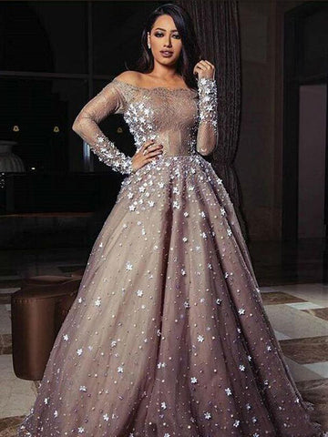 A-line Off-the-shoulder Prom Dress Silver Long Sleeve Tulle Prom Dresses Long Evening Dress AMY1101