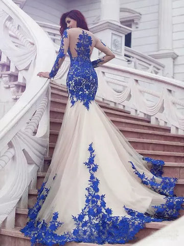 Trumpet/Mermaid Scoop Prom Dress Royal Blue Long Sleeve Tulle Prom Dresses Long Evening Dress AMY1102