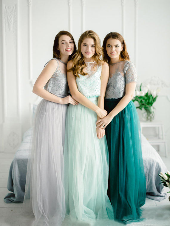 Two Pieces A-line Lace Prom Dresses Short Sleeve Floor length Bridesmaid Dress Long Evening Dress AMY1107