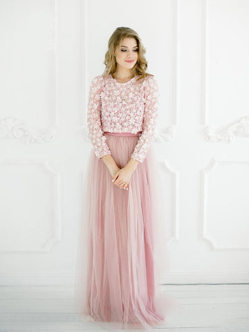 Two Pieces A-line Lace Prom Dresses Long Sleeve Pink Bridesmaid Dress Long Evening Dress AMY1108
