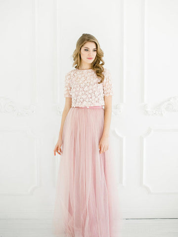 Two Pieces A-line Scoop Prom Dress Lace Pink Short Sleeve Prom Dresses Long Evening Dress AMY1109