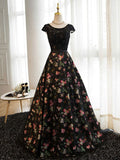 Chic Floral Prom Dresses Long A-line Scoop Print Prom Dress Evening Dress AMY110