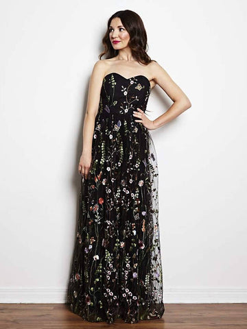 Chic A-line Sweetheart Lace Prom Dresses Black Floral Prom Dress Long Evening Dress AMY1111