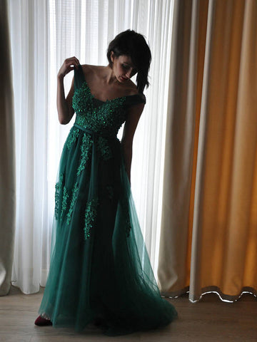 Chic A-line Straps Green Lace Prom Dresses Applique Beads Prom Dress Long Evening Dress AMY1116