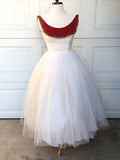 A-line Scoop Short Prom Dress Burgundy White Tea Length Prom Dresses Cocktail Dress AMY1117