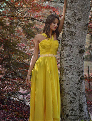 Chic A-line Straps Yellow Prom Dresses Chiffon Ruffles Beads Prom Dress Long Evening Dress AMY1118