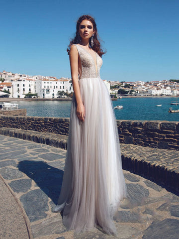 A-line Bateau Prom Dress With Beading Tulle Long Prom Dresses Evening Dress AMY1123