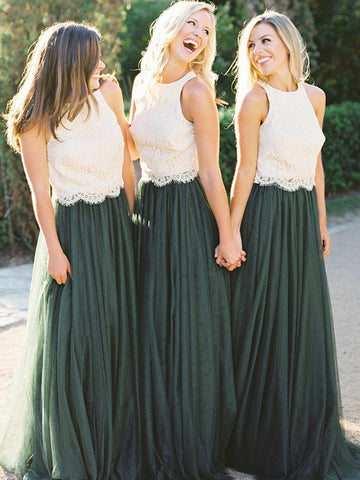 Two Pieces A-line Cheap Bridesmaid Dresses Floor length Green Prom Dress With Lace AMY1126
