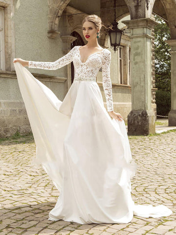 A-line Ivory Beach Wedding Dress Sweep/Brush Train V neck Lace Long Sleeve Wedding Dress AMY1129