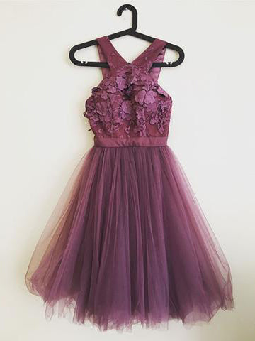 A-line V neck Grape Homecoming Dresses Lace Short Prom Dress Cocktail Dress AMY1132