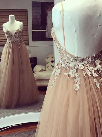 A-line Spaghetti Straps Prom Dresses Floor length Applique Prom Dress Long Evening Dress AMY1136
