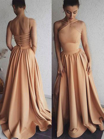 Simple Cheap A-line Prom Dresses Spaghetti Straps Floor length Satin Prom Dress Long Evening Dress AMY1138