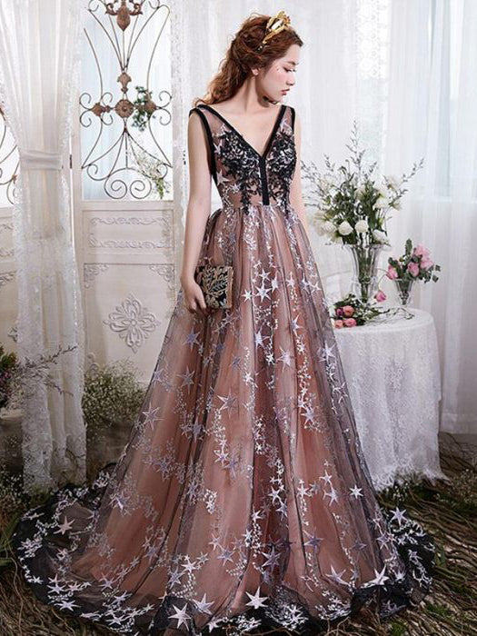 Chic Modest Prom Dresses Long A-line V neck Gorgeous Prom Dress Evening Dress AMY113
