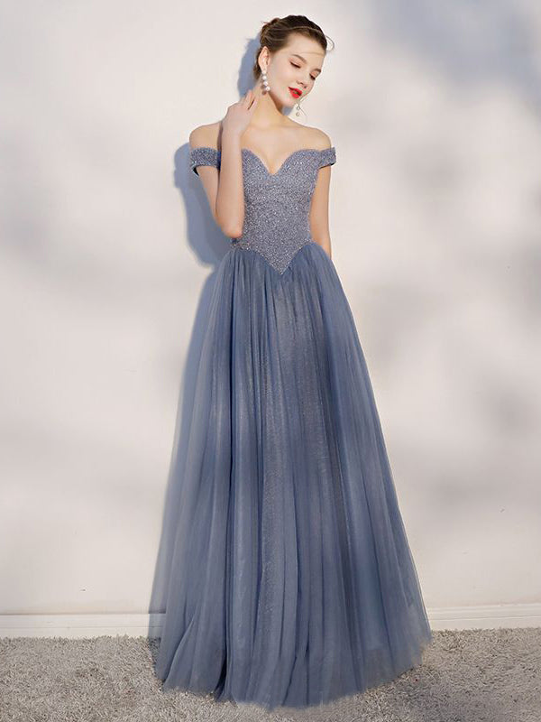 2018 A-line Off-the-shoulder Prom Dresses Custom Long Prom Dresses Evening Dress AMY1144