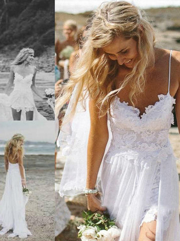 A-line Spaghetti Straps Beach Wedding Dress Floor-length White Lace Wedding Dresses AMY1254