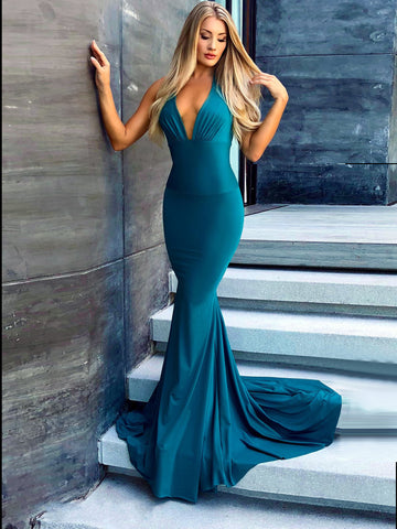 Halter Neck With Straps Prom Dress Mermaid Simple Cheap Long Prom Dresses Evening Dress AMY1147