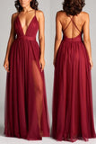 A-line Burgundy Spaghetti Straps Prom Dress Simple Cheap Prom Dresses Long Evening Dress AMY1148