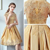 2018 A-line Short Prom Dresses Knee-length High Neck Gold Homecoming Dress AMY115