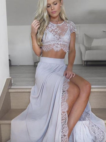 Two Pieces A-line Prom Dress Short Sleeve Cheap Lace Long Prom Dresses Evening Dress AMY1150