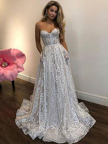 Sparkly Sweetheart Neck Prom Dress A-line Tulle Long Prom Dresses With Rhinestone Evening Dress AMY1153