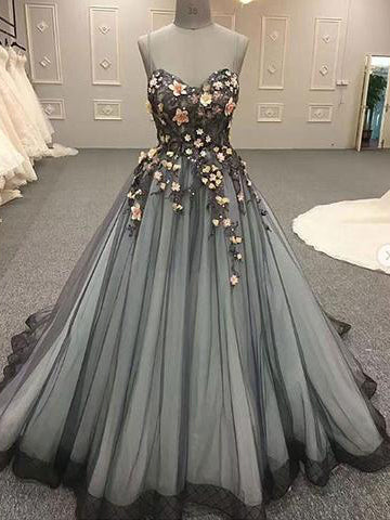 Ball Gowns Spaghetti Straps Prom Dress Sweep/Brush Train Floral Prom Dresses Long Evening Dress AMY1154