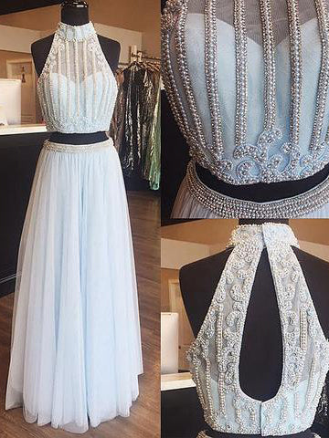 Two Pieces High Neck Prom Dress A-line Light Sky Blue Beading Long Prom Dresses Evening Dress AMY1156